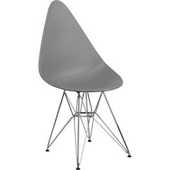Allegra Series Teardrop Moss Gray Plastic Chair with Chrome Base