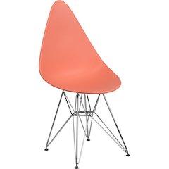 Allegra Series Teardrop Peach Plastic Chair with Chrome Base