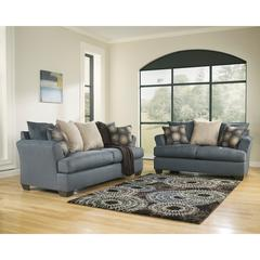 Signature Design by Ashley Mindy Living Room Set in Indigo Fabric