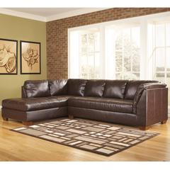 Flash Furniture Signature Design by Ashley Fairplay Sectional with Left Side Facing Chaise in Mahogany DuraBlend Leather