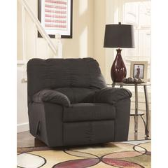 Signature Design by Ashley Dominator Rocker Recliner in Black Fabric