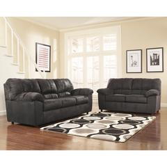 Signature Design by Ashley Dominator Living Room Set in Black Fabric