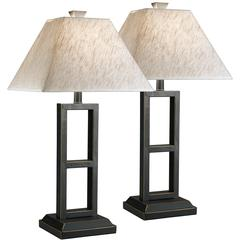 Exceptional Designs by Flash Deidra Black Metal Table Lamp, Set of 2