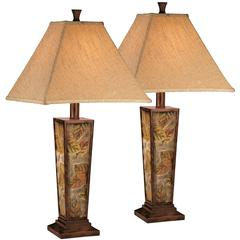 Exceptional Designs by Flash Eloise Leaf Motif Poly Table Lamp, Set of 2