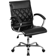 Mid-Back Designer Black Leather Executive Swivel Chair with Chrome Base and Arms