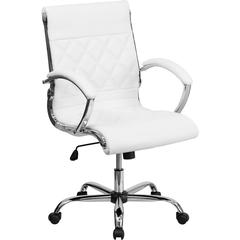 Mid-Back Designer White Leather Executive Swivel Office Chair with Chrome Base and Arms