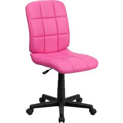 Mid-Back Pink Quilted Vinyl Swivel Task Chair