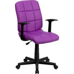 Mid-Back Purple Quilted Vinyl Swivel Task Chair with Arms