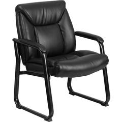 HERCULES Series 500 lb. Capacity Big & Tall Black Leather Executive Side Chair with Sled Base