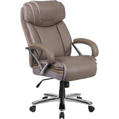 HERCULES Series 500 lb. Capacity Big & Tall Taupe Leather Executive Swivel Office Chair with Extra Wide Seat