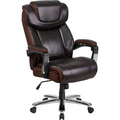 HERCULES Series 500 lb. Capacity Big & Tall Brown Leather Executive Swivel Office Chair with Height Adjustable Headrest