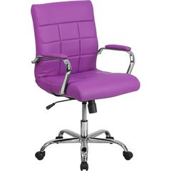 Mid-Back Purple Vinyl Executive Swivel Chair with Chrome Base and Arms