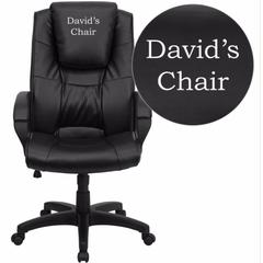 Dreamweaver Personalized Black Leather Executive Swivel Office Chair