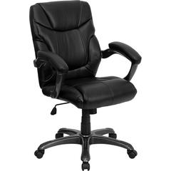 Mid-Back Black Leather Overstuffed Swivel Task Chair