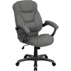 High Back Gray Microfiber Contemporary Executive Swivel Office Chair