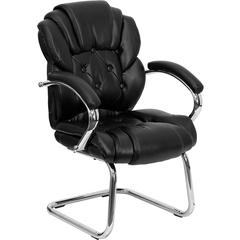 Black Leather Transitional Side Chair with Padded Arms and Sled Base