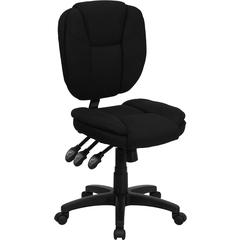 Mid-Back Black Fabric Multi-Functional Ergonomic Swivel Task Chair