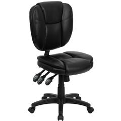 Flash Furniture Mid-Back Black Leather Multi-Functional Ergonomic Swivel Task Chair