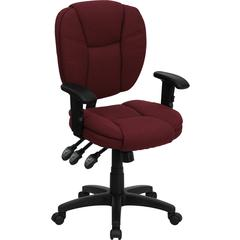 Flash Furniture Mid-Back Burgundy Fabric Multi-Functional Ergonomic Swivel Task Chair with Height Adjustable Arms