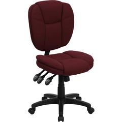 Mid-Back Burgundy Fabric Multi-Functional Ergonomic Swivel Task Chair