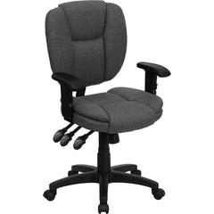 Flash Furniture Mid-Back Gray Fabric Multi-Functional Ergonomic Swivel Task Chair with Height Adjustable Arms