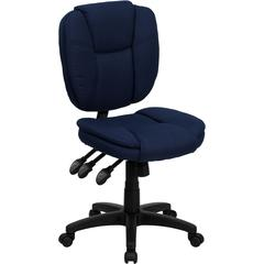 Mid-Back Navy Blue Fabric Multifunction Ergonomic Swivel Task Chair