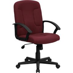 Mid-Back Burgundy Fabric Executive Swivel Chair with Nylon Arms