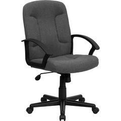 Flash Furniture Mid-Back Gray Fabric Executive Swivel Office Chair with Nylon Arms