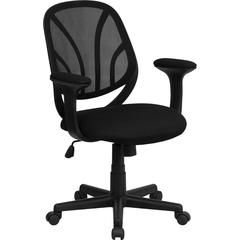 Flash Furniture Y-GO Chair™ Mid-Back Black Mesh Swivel Task Chair with Arms