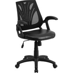 Mid-Back Black Mesh Swivel Task Chair with Leather Padded Seat