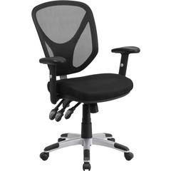Mid-Back Black Mesh Multifunction Swivel Task Chair with Adjustable Arms