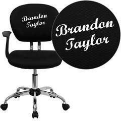 Personalized Mid-Back Black Mesh Swivel Task Chair with Chrome Base and Arms