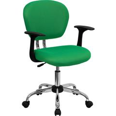 Mid-Back Bright Green Mesh Swivel Task Chair with Chrome Base and Arms
