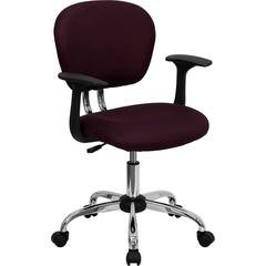 Flash Furniture Mid-Back Burgundy Mesh Swivel Task Chair with Chrome Base and Arms