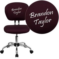 Personalized Mid-Back Burgundy Mesh Swivel Task Chair with Chrome Base