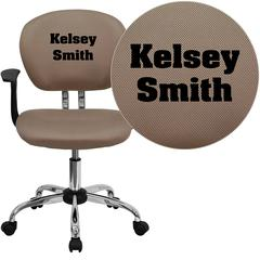Personalized Mid-Back Coffee Brown Mesh Swivel Task Chair with Chrome Base and Arms