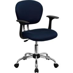 Flash Furniture Mid-Back Navy Mesh Swivel Task Chair with Chrome Base and Arms
