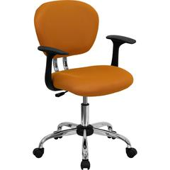 Flash Furniture Mid-Back Orange Mesh Swivel Task Chair with Chrome Base and Arms