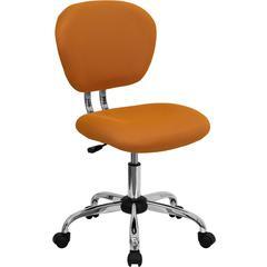 Flash Furniture Mid-Back Orange Mesh Swivel Task Chair with Chrome Base