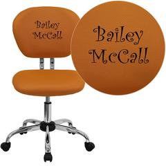 Personalized Mid-Back Orange Mesh Swivel Task Chair with Chrome Base