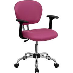 Flash Furniture Mid-Back Pink Mesh Swivel Task Chair with Chrome Base and Arms