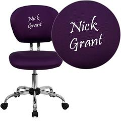 Personalized Mid-Back Purple Mesh Swivel Task Chair with Chrome Base