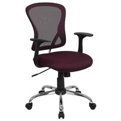 Mid-Back Burgundy Mesh Swivel Task Chair with Chrome Base
