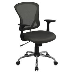 Mid-Back Dark Gray Mesh Swivel Task Chair with Chrome Base