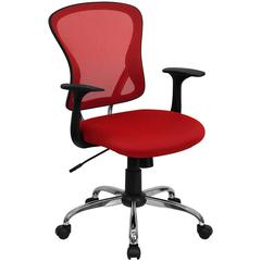 Flash Furniture Mid-Back Red Mesh Swivel Task Chair with Chrome Base