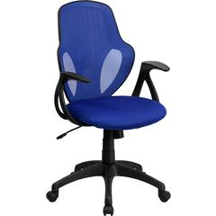 Flash Furniture Mid-Back Executive Blue Mesh Chair with Nylon Base