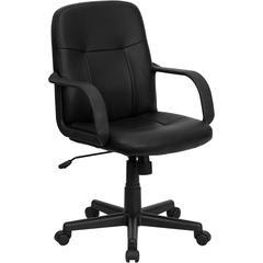 Mid-Back Black Glove Vinyl Executive Swivel Office Chair