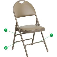 HERCULES Series Ultra-Premium Triple Braced Beige Vinyl Metal Folding Chair with Easy-Carry Handle