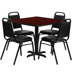 36'' Square Mahogany Laminate Table Set with 4 Black Trapezoidal Back Banquet Chairs