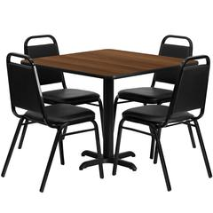 36'' Square Walnut Laminate Table Set with 4 Black Trapezoidal Back Banquet Chairs